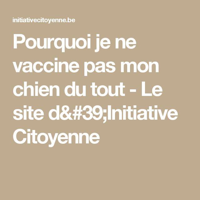 Pourquoi je ne vaccine pas mon chien du tout - Le site d'Initiative Citoyenne