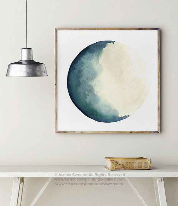 Luna Astrology Print, Moon Phases Watercolour Painting, Blue Vanilla Beige Crescent Moon Art, Abstract Turquoise Solar System Illustration
