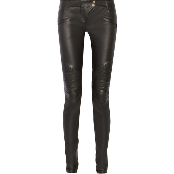 Balmain Moto-style leather skinny pants ($2,965) ❤ liked on Polyvore featuring pants, balmain, jeans, leather, genuine leather pants, real leather pants, skinny trousers, balmain pants and black leather trousers