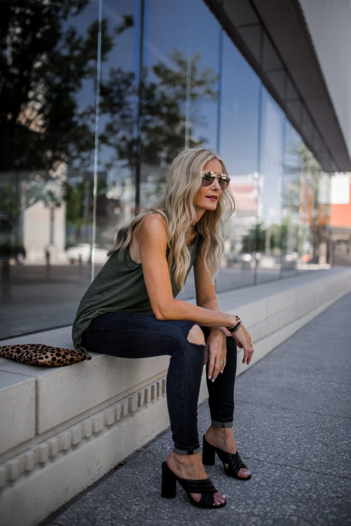 current elliott muscle tank, Black ripped jeans, Heather Anderson, Dallas Fashion Blogger
