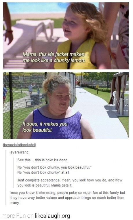 """i love this! i hate when i say something about being fat or feeling fat and people say """"no, you're not fat, you're beautiful."""" well why can't i be both?"""