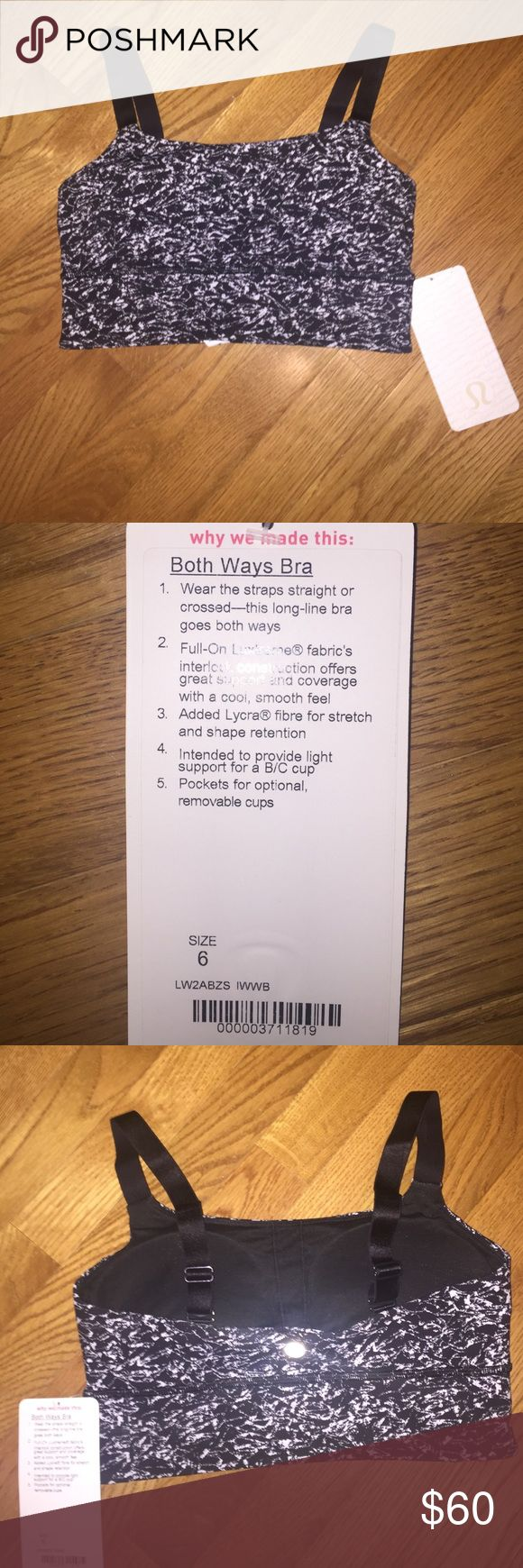 """Lululemon """"Both Ways Bra"""" black/white Never been worn! Only taken out of the bag to take pictures. Supportive, adjustable straps that can be worn crossed or straight back. Removable bra pads. lululemon athletica Intimates & Sleepwear Bras"""