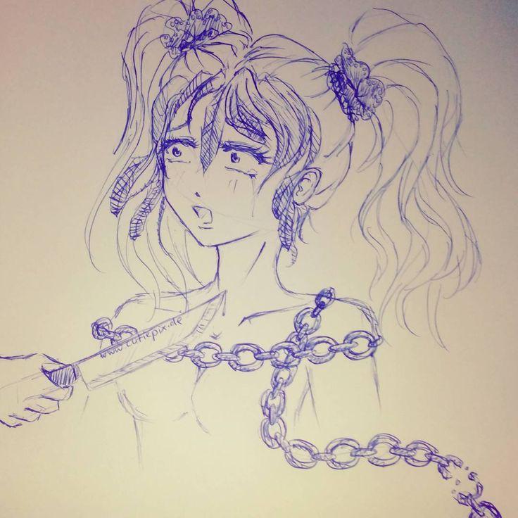 nobody can #help you... ...? Wieder nur eine #Skizze mit dem #Kugelschreiber von mir... Ich glaub ich gebs auf eine richtige Arbeit zu #Zeichen schaf ich ja doch nie xD  #anime #manga #draw #drawing #girl #mädchen #sketch #skizze #zeichnung #messer #knife #kette #hair #haare #zöpfe #cute #cutiepix #cutiepixdesign #frau #women #аниме #манга #девочка #девушка #рисовать #ресунок