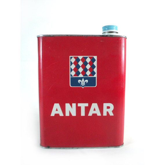 French ANTAR Motor Oil Tin Can Vintage White by LaBelleEpoqueDeco