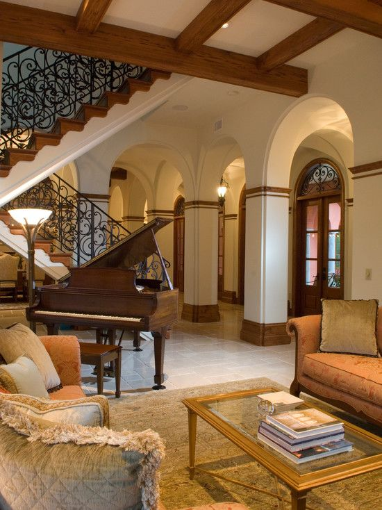 Astonishing Grand Piano Decorating Ideas For Engaging Living Room Mediterranean Design With Arch Arches Baby Beams Ceiling Columns