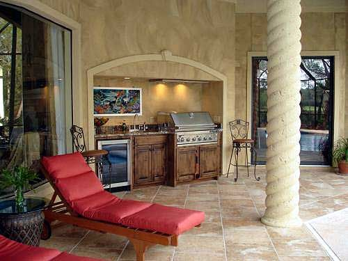 Outdoor grill area.