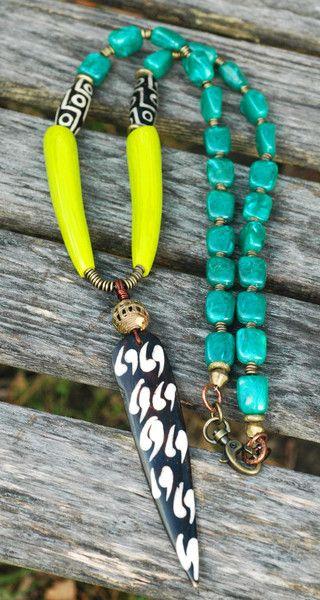 Long Emerald, Lime Green and Batik Bone Arrowhead Tribal Necklace