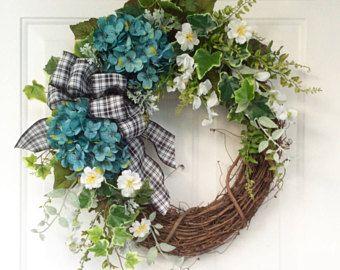 Summer Door Wreath-Hydrangea Wreath-Summer-Wreath-Farmhouse Decor-French Country Wreath-Country Kitchen Wreath-Rustic Wreath