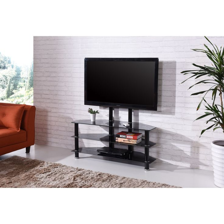 3shelf tempered glass stand with 46inch tv mount black