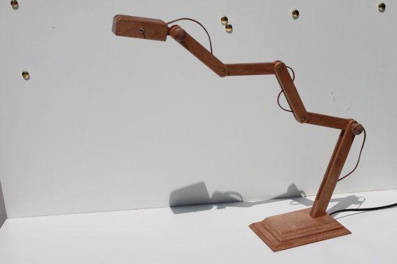 Lamp double leds wood reclaimed desk table STORK by idealuminosa,