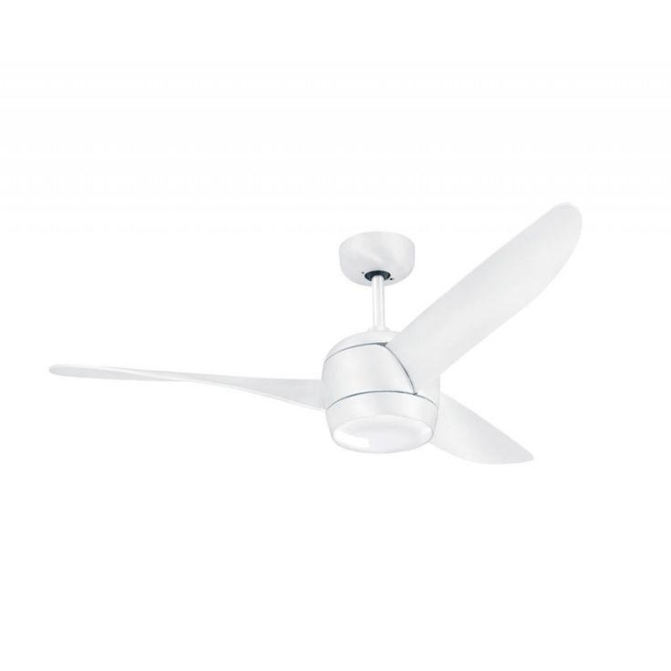Koala un ventilateur de plafond design en acier brossé blanc , point lumineux puissant, très silencieux