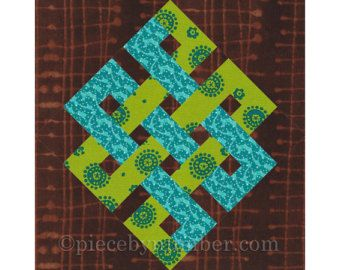 Interlocked Squares quilt block paper by PieceByNumberQuilts
