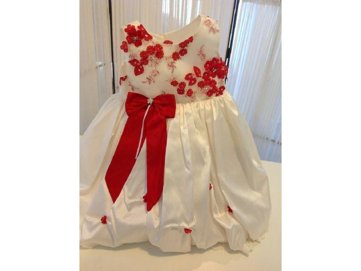 Βαπτιστικό φόρεμα λευκό με κόκκινο