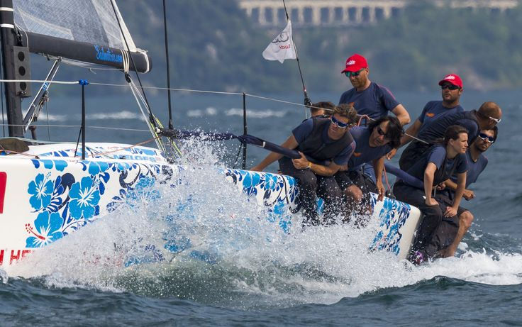 Photo by Stefano Gattini, Studio Borlenghi.  Helly Hansen athletes racing inshore!  So fast.