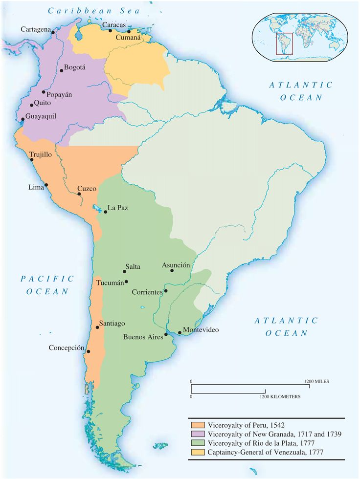 Latin America Around 1800 MAP