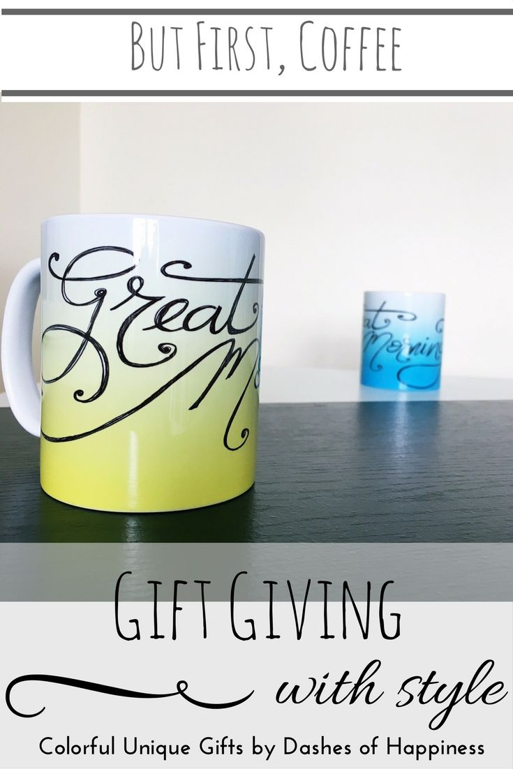 Think outside the box, gift something unique- and who doesn't love coffee? Add a starbucks gift card, and you've officially made someone's day. Shop these mugs and more at Dashes of Happiness on Etsy.
