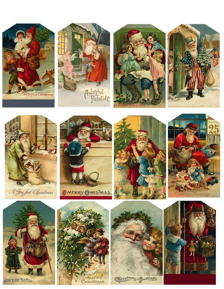 Cute Vintage Christmas tags. You can use old Christmas cards. Duh!