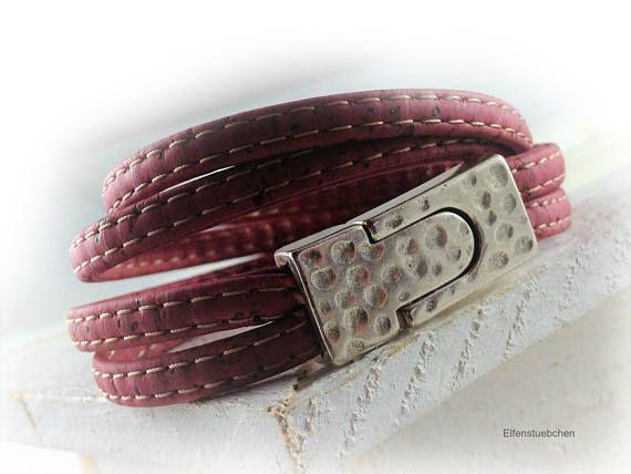 Damen Kork Leder Armband Wickelarmband rot silber vegan