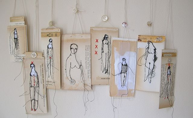 Cathy Cullis,   Interesting stitched creations, using a luggage label type canvas...