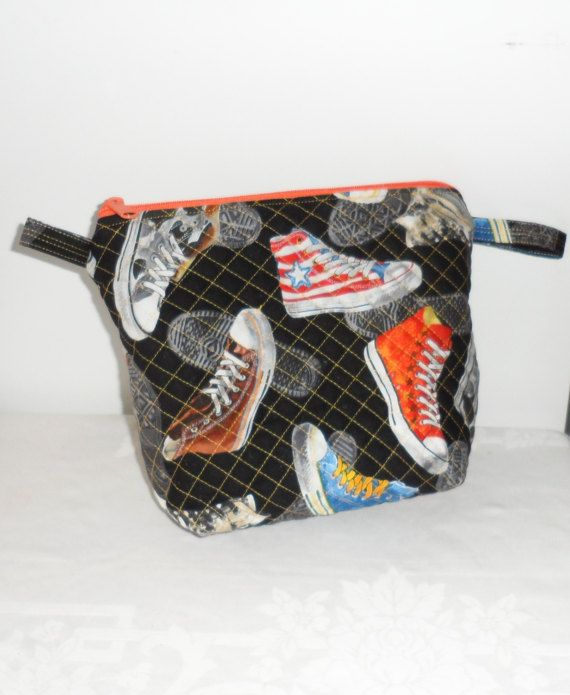 FUNKY HIGHTOP SNEAKERS Novelty Fabric Zippered Toiletry Bag/Unisex Quilted Cosmetic Bag/Quilted Project Bag/Quilted Bath Bag/Quilted Zip Bag