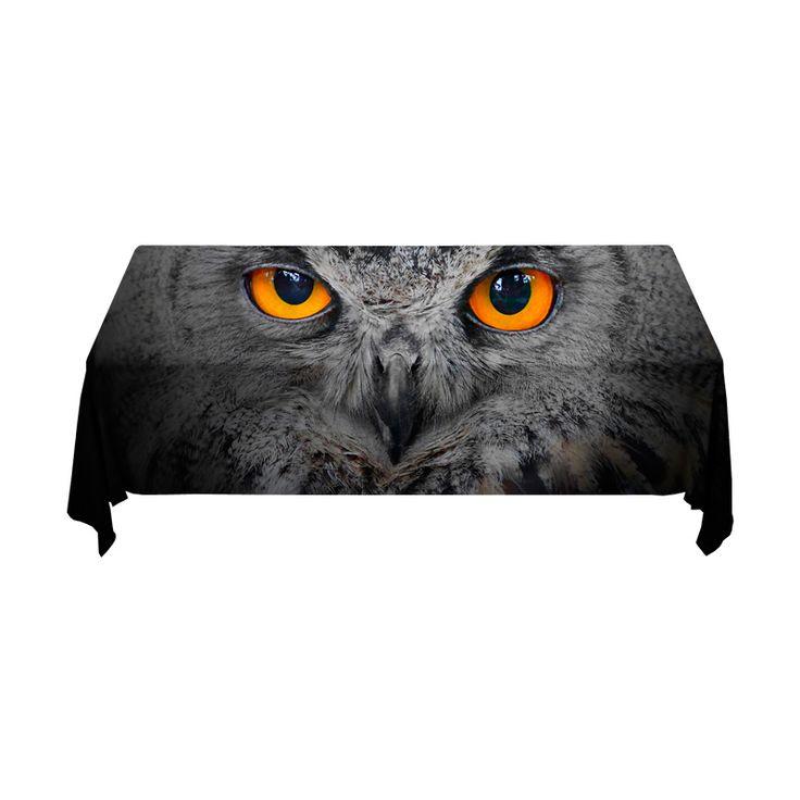 Tafelkleed Uil | Fleur je keuken op met dit weerbestendige tafelkleed bestaande uit geweven linnen met PVC.   #tafelkleed #keukentextiel #keuken #kleed #pvc #print #opdruk #tafel #weerbestendig #uil #dier #vogel #ogen #zwart