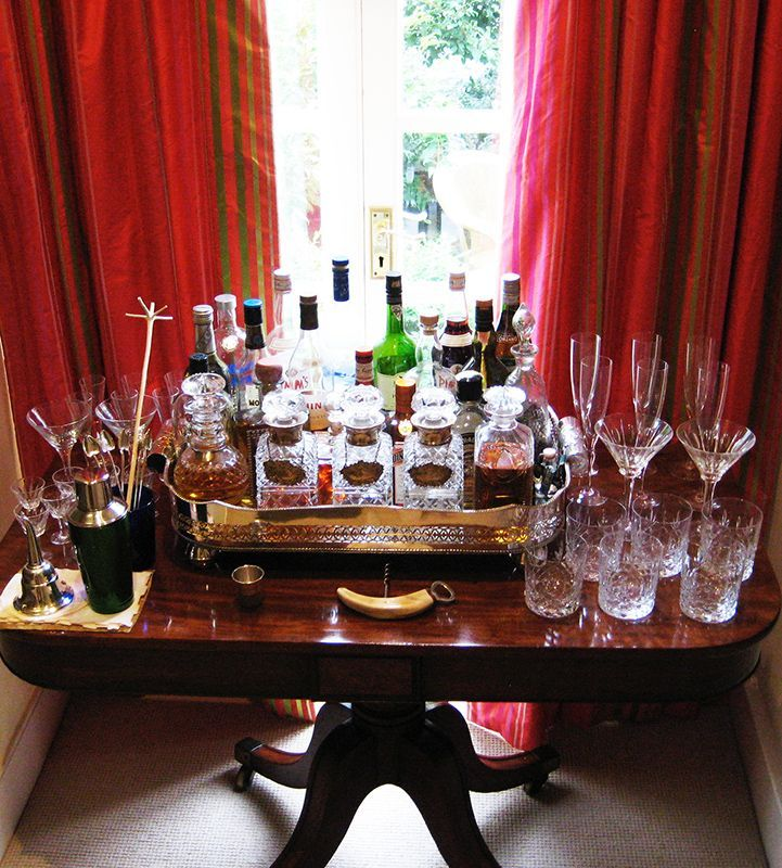 Bar Setup On Pedestal Table With Gallery Tray