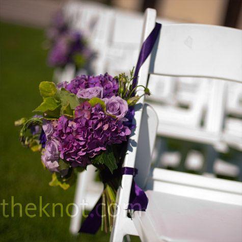 purple ceremony aisle flowers: Color, Ceremony Decor, Chairs Decor, Ceremony Chairs, Aisle Flower, Ceremony Aisle Decor, Aisle Chairs, Dark Purple Flower, Bridesmaid Bouquets