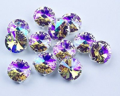 12 Swarovski Special Violet Glacier Blue Sew On 12MM Rivoli Chaton #1122