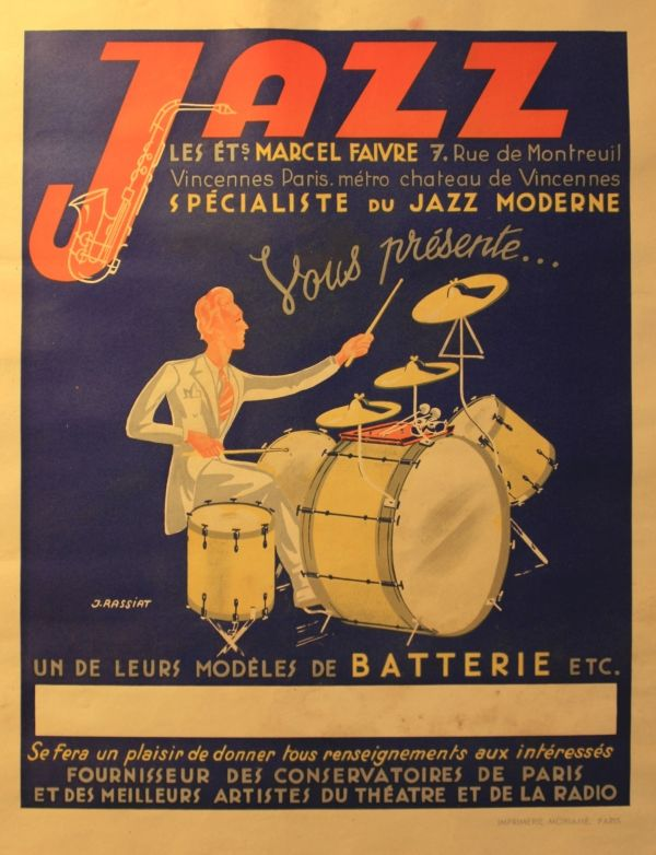 Original vintage advertising poster for a specialist music shop in Paris. Great image of a drummer designed by J. Rassiat. Fair condition. Soiling and unobtrusive water stain.    Country      France  Year      1940s  Style      Advertising Posters  Artist      J. Rassiat  Size (cm)      54x42