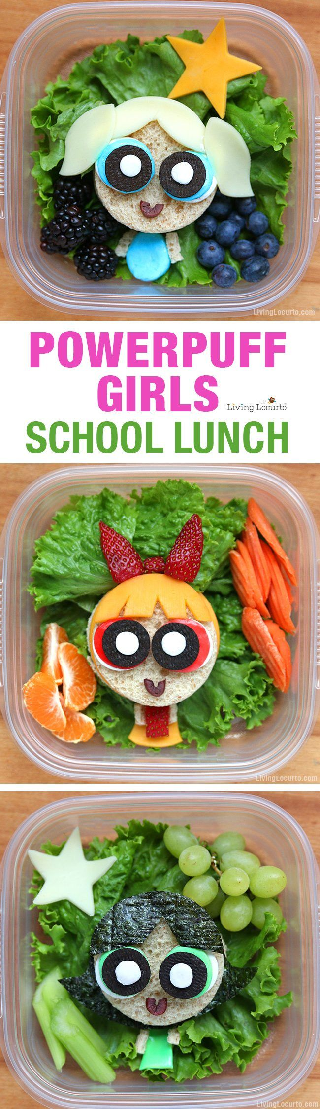 These Powerpuff Girls sandwiches are a cute superhero school lunch! Make sandwich art for kids that's full of sugar, spice, and everything nice. Find directions on how to make these adorable sandwiches and stream the classic series only on Hulu now. #PowerpuffonHulu #ad