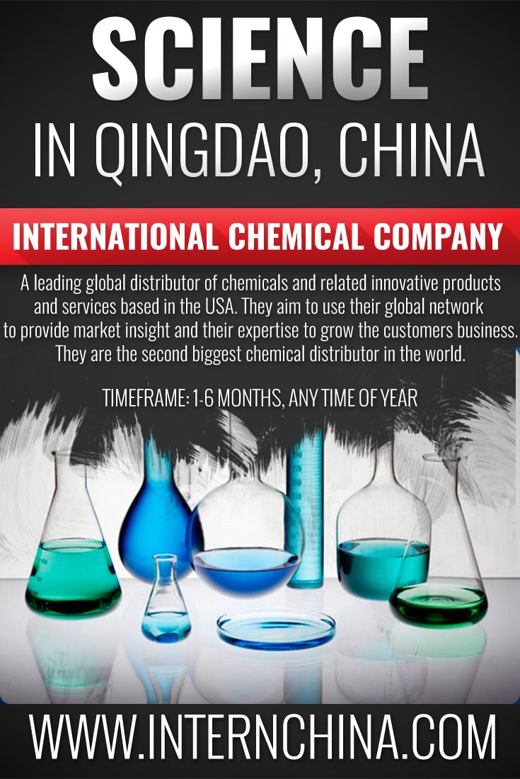 Are you thinking about a future in Chemistry? Come to Qingdao and learn about sales in the Chemistry industry, directly from this Multi National Corporations' Asian Business Development Manager! See more: https://internchina.com/international-chemical-company-ref-qdsc01/  Intern China offers Chinese internships for students in alternative locations in China!