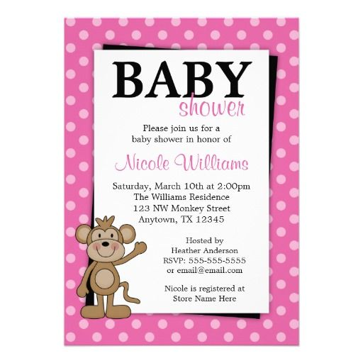 16 best monkey baby shower invitations images on pinterest pink polka dot monkey baby shower invitations filmwisefo