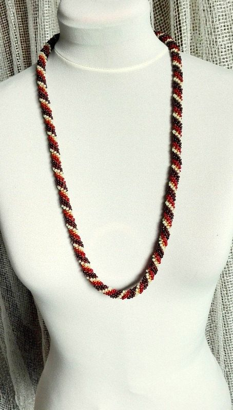 Brown Beauty, Neckle, Beaded Rope, Crochet Bead Neckle, Long Neckle, Lariat , Chaplet by IMAGINARIUM2015 on Etsy