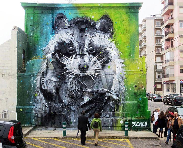 Bordalo II est un street artist spécialisé dans la création de superbes peintures murales dans la rue à l'aide d'un mélange savant entre objets recyclés et spray paint. N'hésitez pas à faire un tour sur son profil Facebook pour en découvrir davantage.