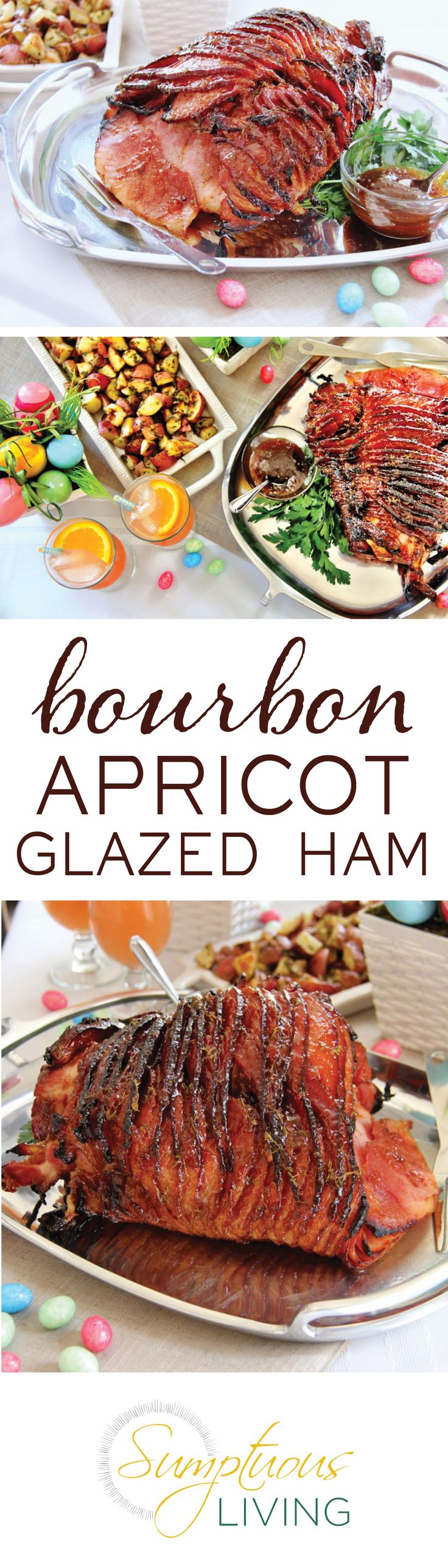 Jazz up your Easter menu with our Bourbon Apricot Glazed Ham! A spiral sliced ham basted with a mixture of apricot jam, bourbon, and spices for a delicious twist on a holiday classic. | Sumptuous Living | https://sumptuousliving.net/bourbon-glazed-ham/