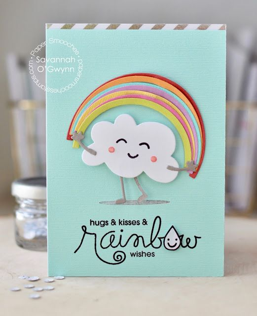 Hugs & Kisses & Rainbow Wishes card by Savannah O'Gwynn for Paper Smooches - Luminous Spring, Shadows, Cute Fruit, Fruit People, Clouds, Rainbow