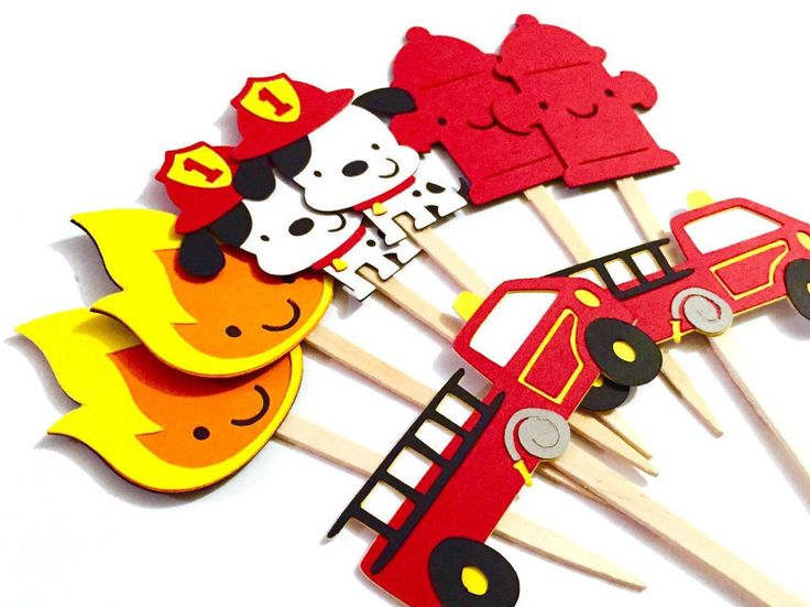 Set of 12 Fireman Cupcake Toppers / Firefighter Cupcake Toppers Fire Firetruck Cupcake Toppers Dalmatian Cupcake Topper Fireman Baby Shower by aaahpaper on Etsy https://www.etsy.com/listing/239475358/set-of-12-fireman-cupcake-toppers