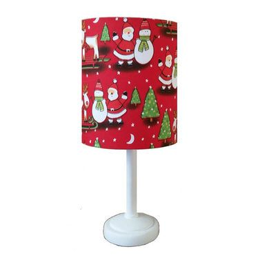 Christmas Themed Fabric Lamp Shade with Base http://www.childrens-rooms.co.uk/christmas-themed-fabric-lamp-shade-with-base.html #christmaslamp #santaandsnowman #festivefun