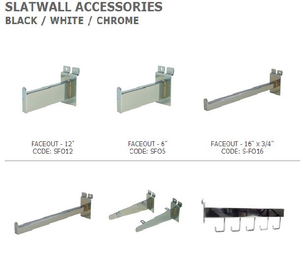 Slat wall accessories are very flexible and essential for retailers to modify various types of merchandise.  It allows shop-owners to rearrange merchandise very smoothly.  It includes hat displays, display arms, wall hooks, wire hooks, facecout & much more available at different sizes with wide variation and colors. See more at: http://idealdisplays.ca/04_slatwall_accessories.html