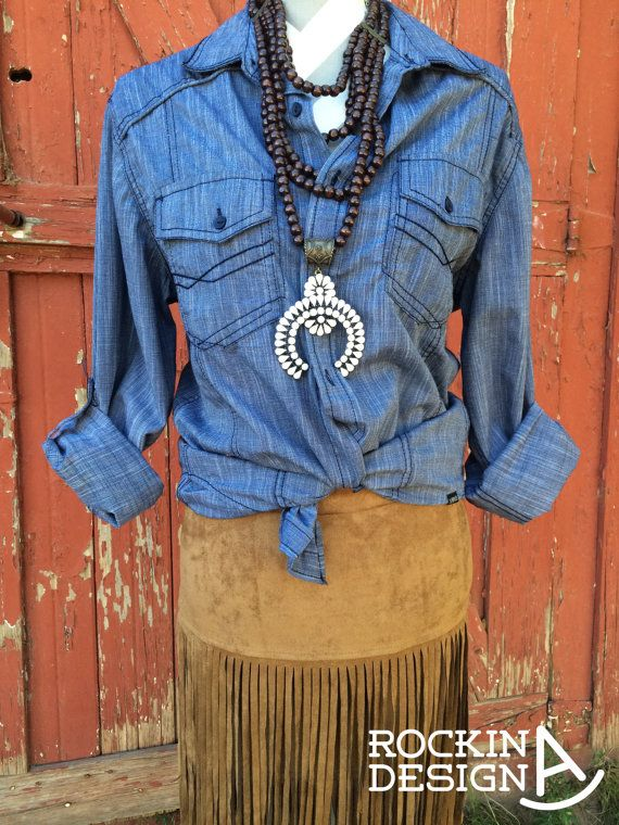 Rockin A Design Clothing Women's Clothing Tops & Tees Blouses Rockin A Design ooak bronc rider western rodeo americana bandana print cowboy cowgirl chambray ivory squash blossom