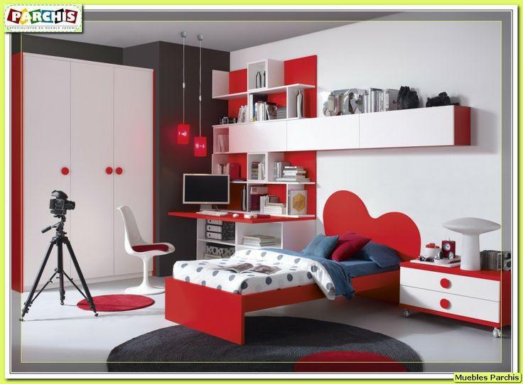Cama individual con cabecero en forma de nube en color blanco y rojo dormitorios juveniles e - Cama individual juvenil ...