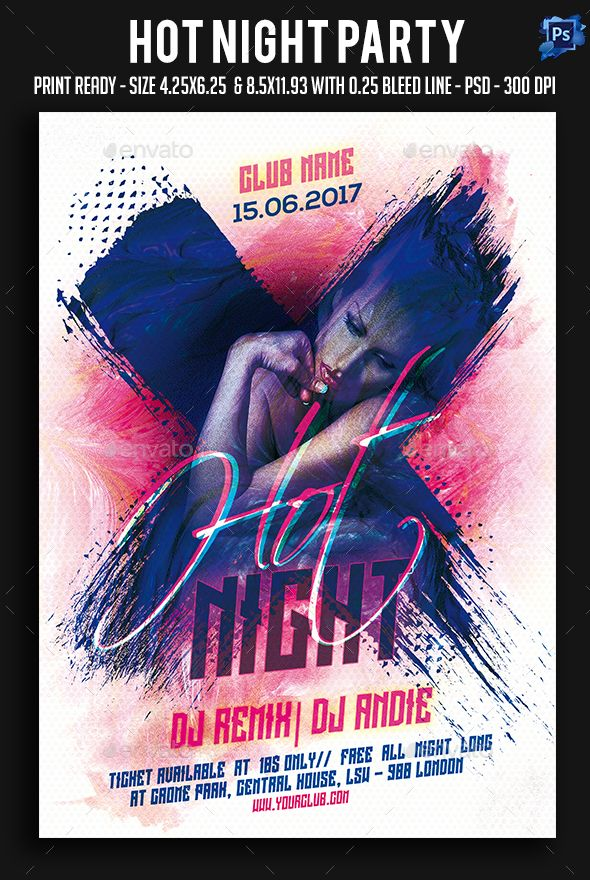 Hot Night Party Flyer. Download: https://graphicriver.net/item/hot-night-party-flyer/18710676?ref=thanhdesign