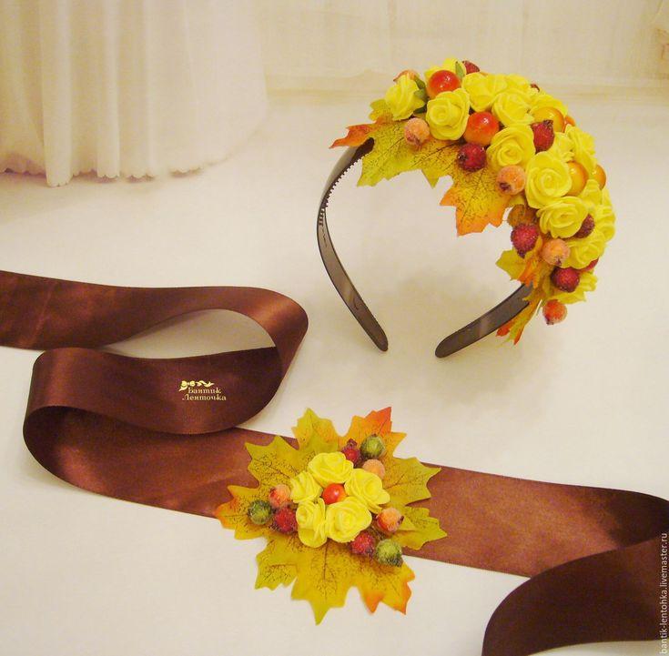 """Купить Комплект ободок+пояс """"Краски осени"""" - желтый, пояс с цветами, пояс для платья, атласный пояс"""