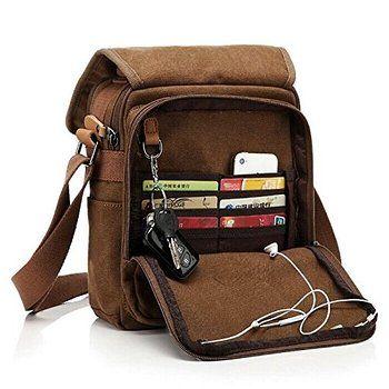 Moore Carden Durable Vintage Multifunction Canvas Shoulder Bag Business Messenger Bag Ipad Bag Tote Bag Satchel Bag for Men and Women