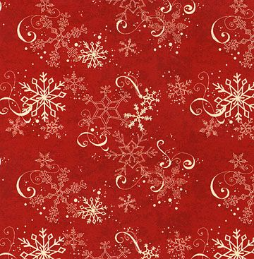 fabric - Red and White Snowflake Fabric Lovely lacy snowflakes on a red ground. Part of the
