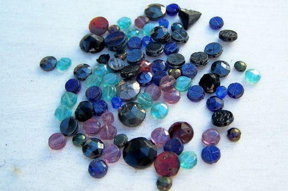 Vintage Czech glass nailhead bead lot Mixed by Frenchsteelbeadshop, $8.50
