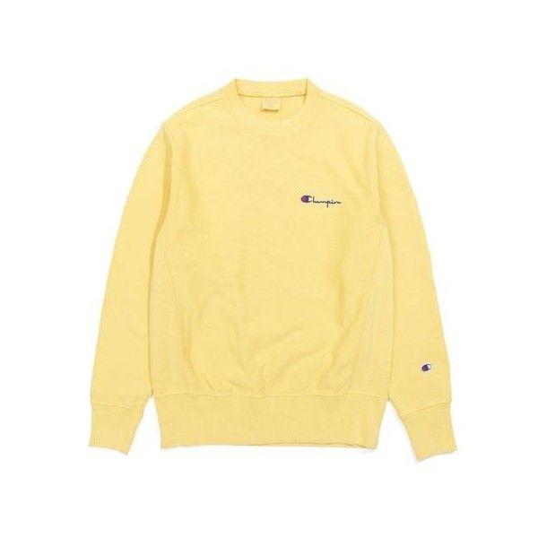 Толстовка Champion Crewneck Sweatshirt Champion Logo Yellow ❤ liked on Polyvore featuring tops, hoodies, sweatshirts, yellow top, beige top, logo sweatshirts, yellow sweatshirt and crew neck tops