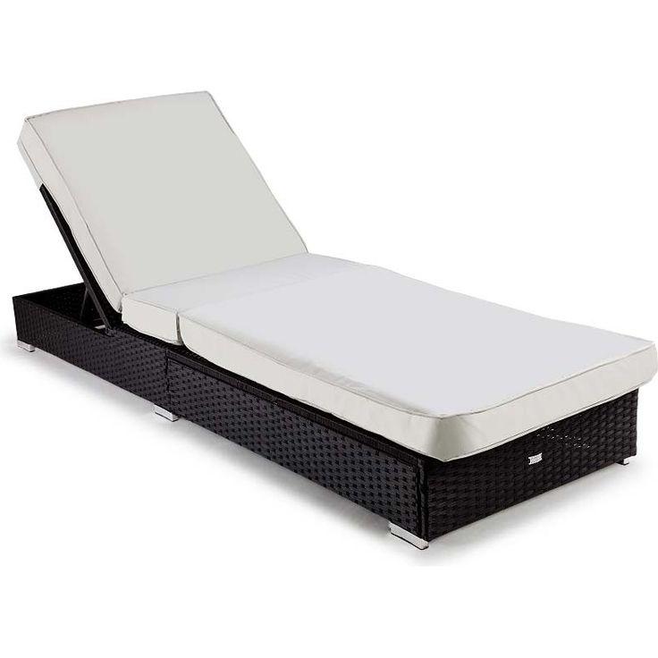 London Cushioned Wicker Adjustable Sun Lounge Black   Buy Wicker Outdoor Furniture