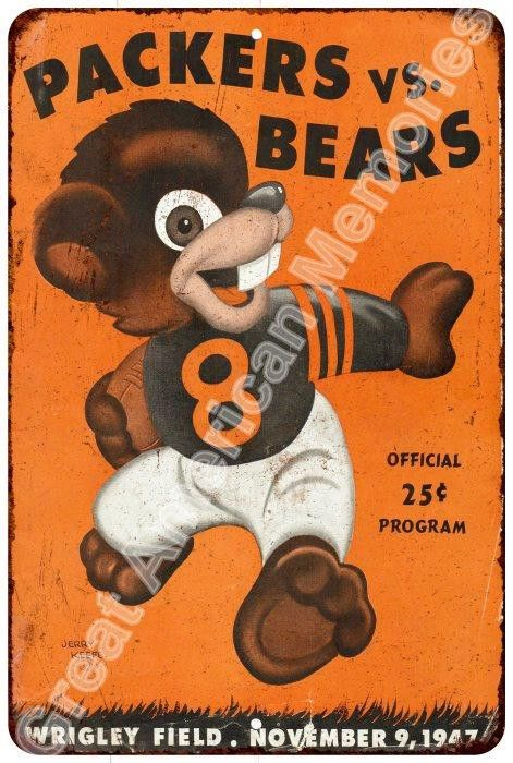 1947 Packers vs. Bears Vintage Look Reproduction Metal Sign 8x12 8123194