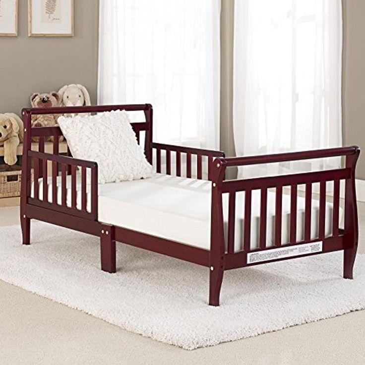 Big Oshi Classic Sleigh Design Modern Toddler Bed  Cherry